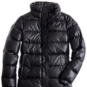 J. Crew Shiny Puffer Jacket in Black